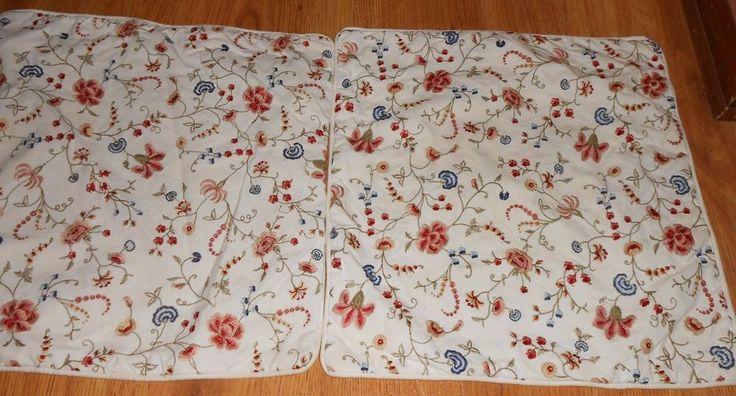 Pottery Barn Flower Floral Set of 2 Square Pillow Covers 18 x 18 Embroidered #PotteryBarn