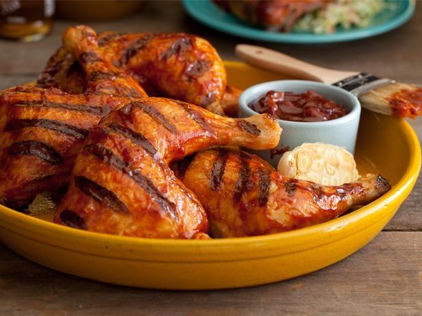 brined bbq chicken on grill & finish in oven -kosher salt, garlic, thyme, bacon molasses, cumin, paprika, dry mustard