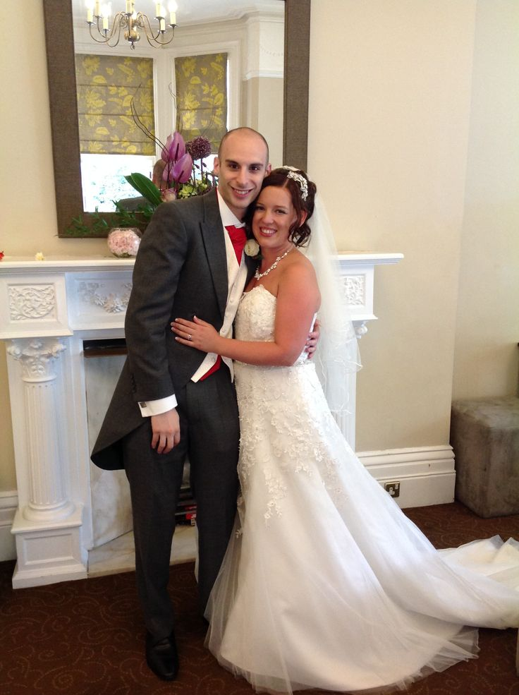 Gorgeous picture of Hannah and Ali on their wedding day at Woodside, August 2014