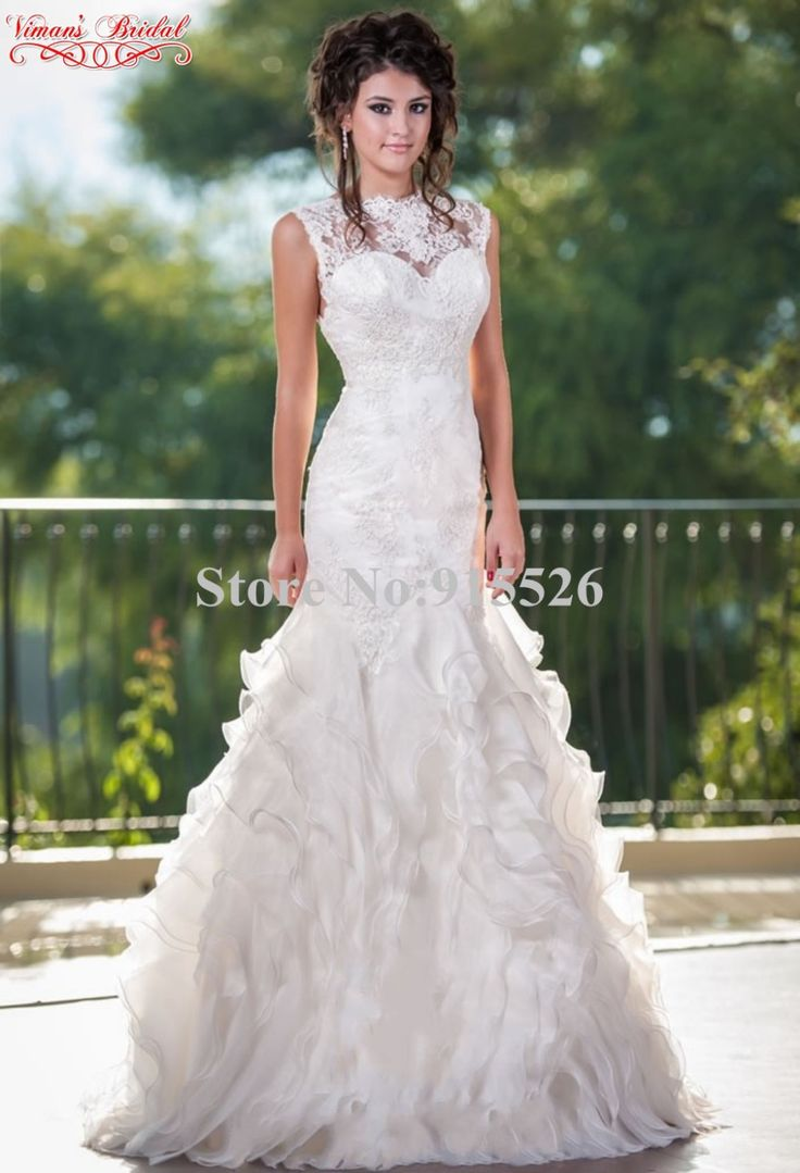 >> Click to Buy << 2015 Viman's Bridal Mermaid Wedding Dress Appliques Lace Beading Scoop Ruffles Floor-Length Ball Gown Novia Free Shipping AU12 #Affiliate