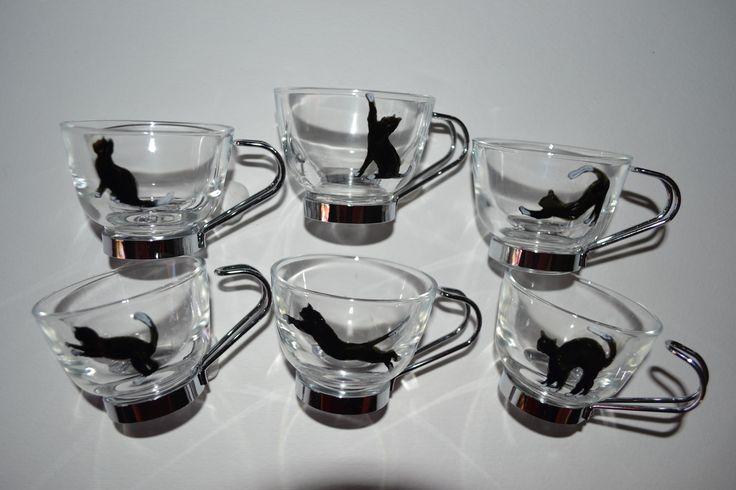 """6 tasses à café expresso peintes """"chats noir et blanc"""", CADEAU FETE DES MERES"""
