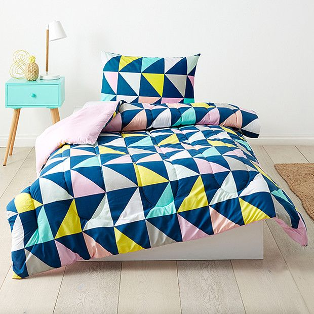 Patchwork Comforter Set - Blue
