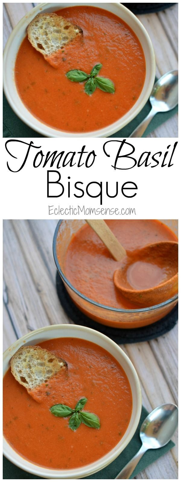 Tomato Basil Bisque | Creamy homemade tomato soup with fresh basil.