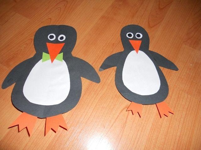 tučňáci - vystřihování z papíru