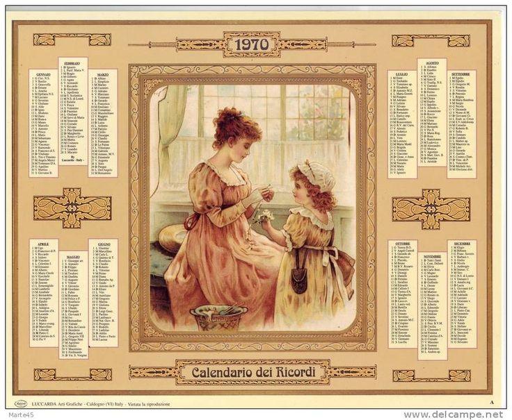 Calendario dei ricordi anno 1970: Calendari Italiani, Ricordi Anno, Italiani Vintage, Calendario Dei, Anno 1970, Dei Ricordi