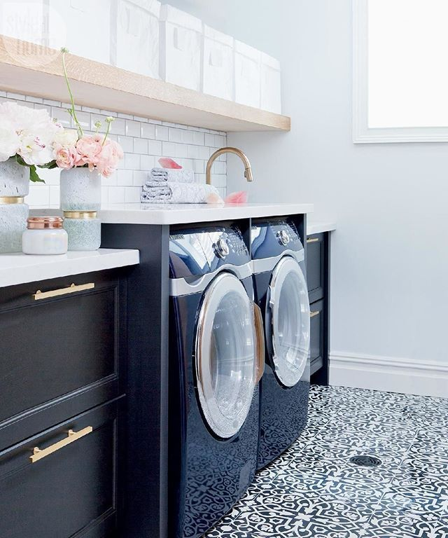 If you think there's no hope for your dreary laundry room, prepare to be inspired: This dreamy space wasn't always so bright and welcoming. See the before and after photos at Interiors > Laundry Room > Chic and Dreamy Basement Laundry Room {Photo by: @ashleycapp   Design: @thecuratedhouse}