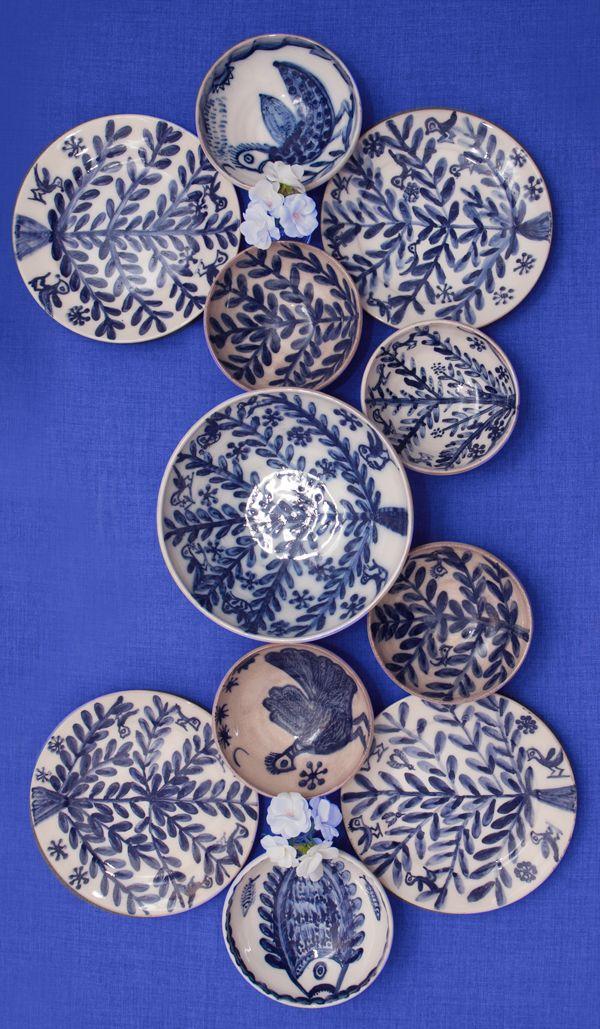 Greek Island Ceramic Decorative Bowls & Plates! Ideal for a blue & white Mediterranean Flair!