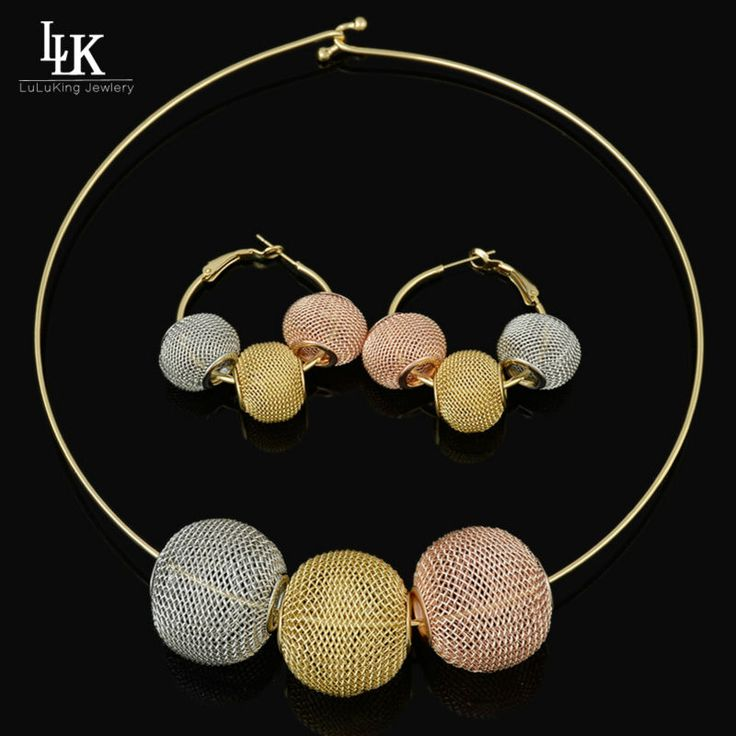 2017 Fashion Dubai Gold Plated Big Design Jewelry Set Nigerian Wedding African Beads Earrings Necklace Set Rose Gold/ Whtie Gold