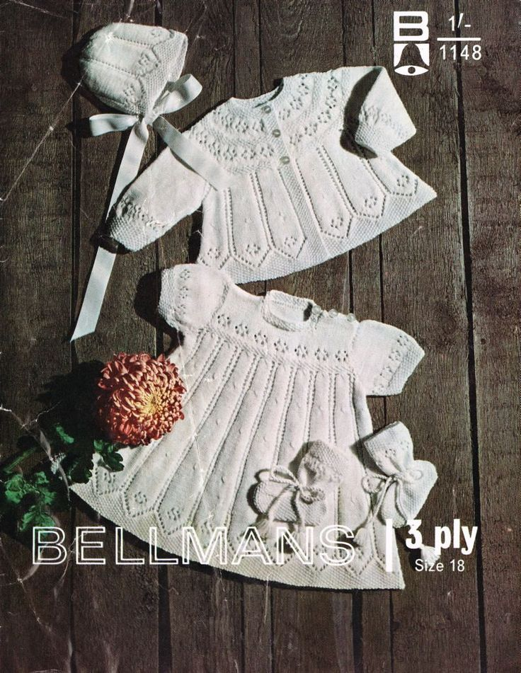 Bellmans 1148 baby matinee dress and coat set vintage knitting