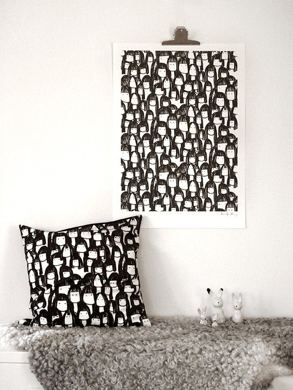 Kompisarna cushion  cover and poster by Scandinavian designer Anna Grundberg - Nordic Design Collective