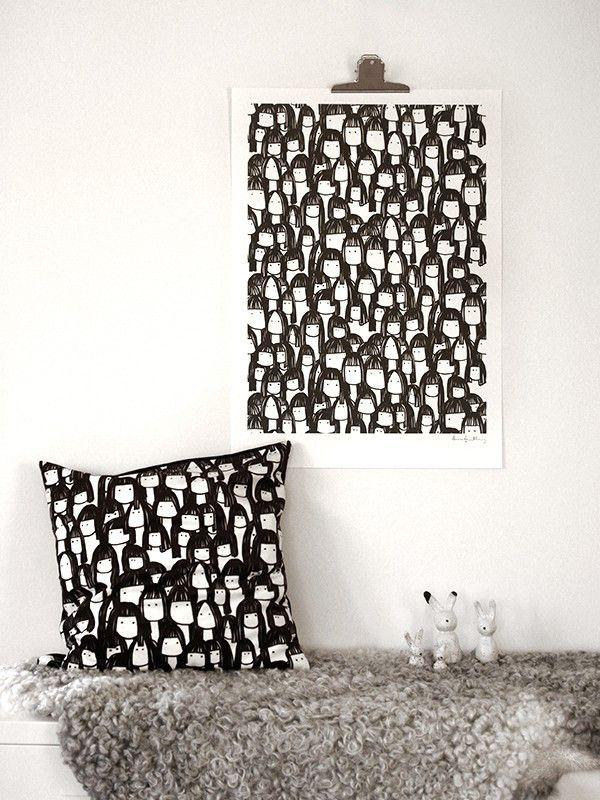Kompisarna cushion  cover and poster by Scandinavian designer Anna Grundberg - Nordic Design Collective