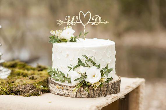Gold Laser Cut Cake Topper - #ad -- Custom Calligraphy Heart Wedding Cake Topper-Gold