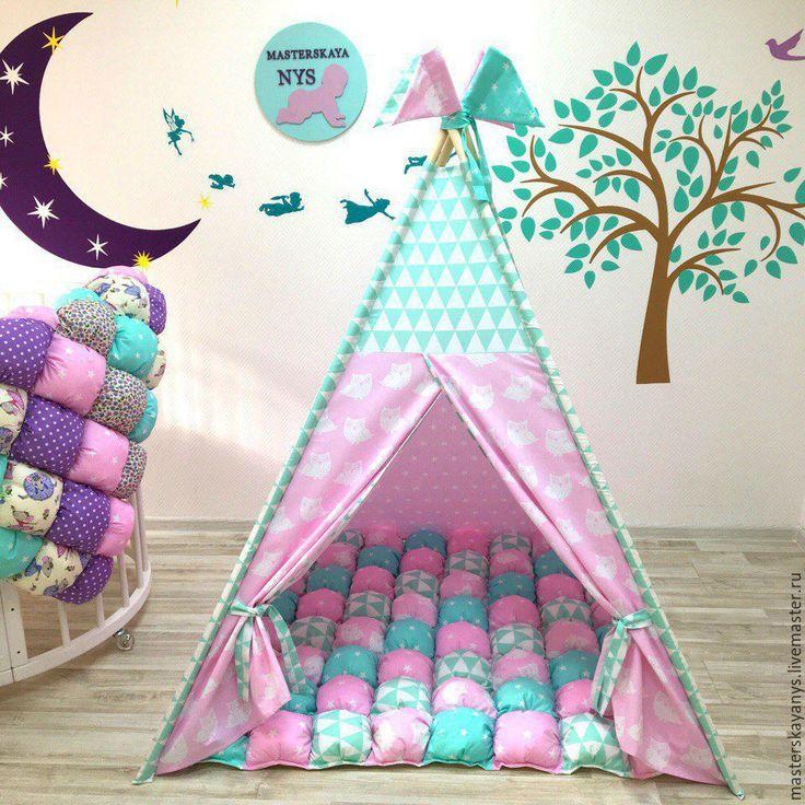 """Купить Вигвам """"Мятно розовая нежность"""" - комбинированный, вигвам, вигвам для девочки, вигвам палатка"""