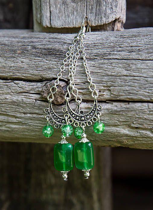 gabi111 / Zelené jadeity v starostriebre - náušnice
