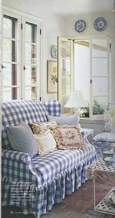 blue and white checkered seat cushion - Google Search