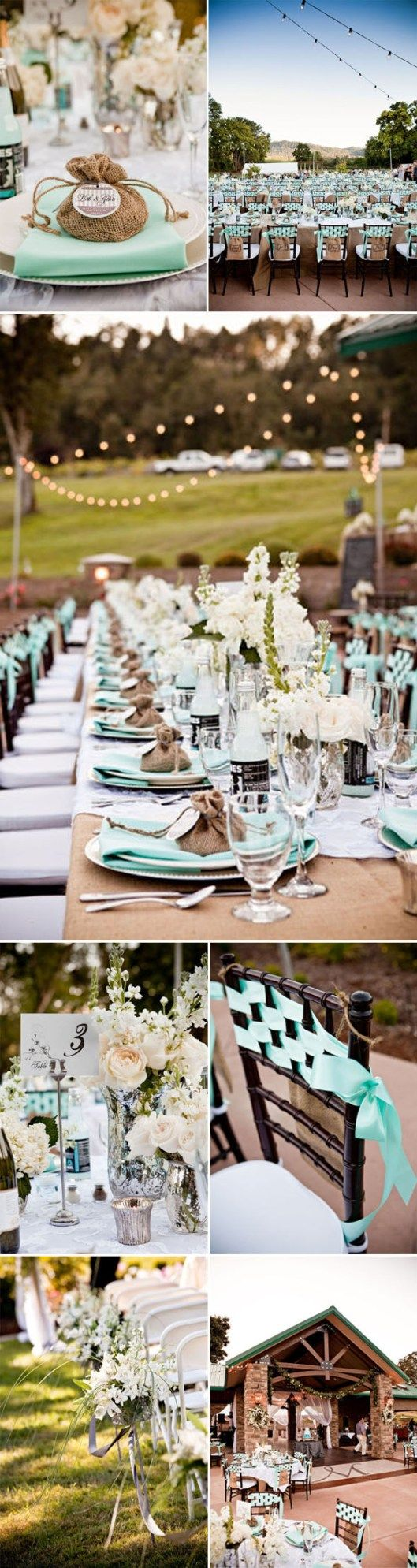 Aqua Wedding--I like the mercury glass, burlap, white flowers, and pops of color. I don't like whatever they did to the chairs...