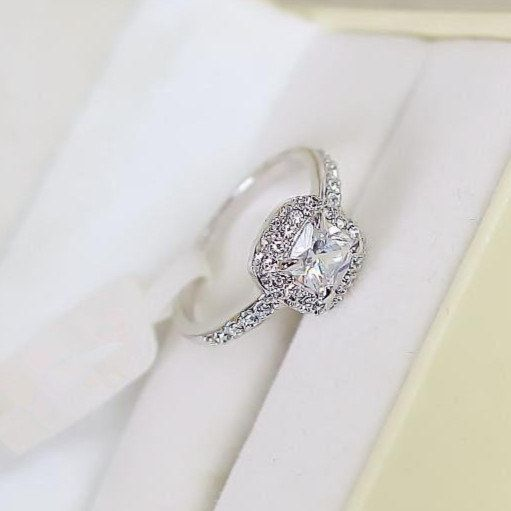 White Gold Plated Women Ring, Jewelry Ring Gift, Wedding Ring, Engagement Ring US Size 6,7,8, With Box