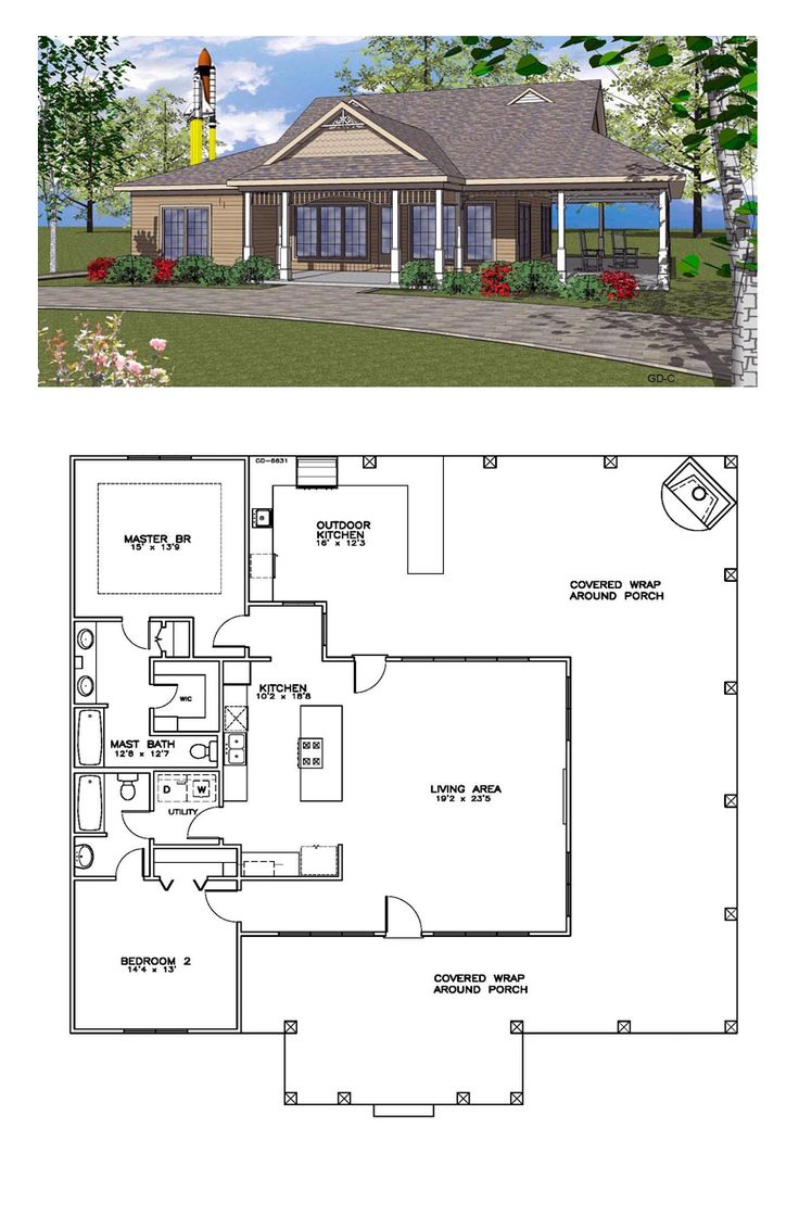 Coastal House Plan 59392 | Total Living Area: 1385 sq. ft., 2 bedrooms and 2 bathrooms. #coastalhome
