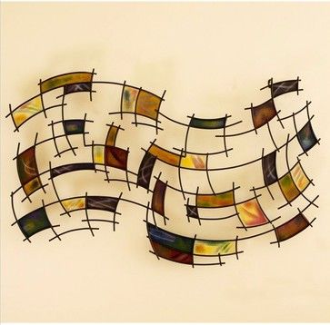 Southern Enterprises Abstract Wall Art in Black Grid transitional-mixed-media-art