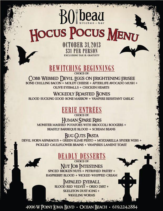 Bo beau Halloween Dinner Ocean Beach Cohn Restaurant Group holiday