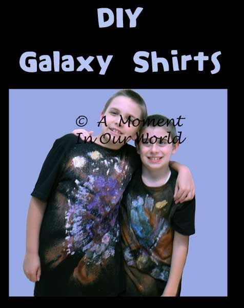 """As part of our space unit, I showed the boys pictures of galaxy shirts and asked if they would like to have a try at making their own. They both started jumping up and down, going """"YES! YES! YES! Please!""""  To make a galaxy shirt, you need: a dark coloured shirt – we used …"""