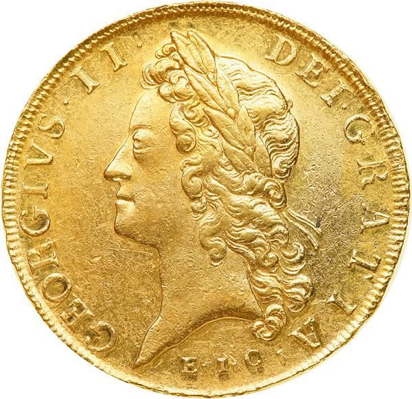 Great Britain. Five Guineas, 1729-E.I.C. NGC AU55 S-3664; Fr-333. George II, 1727-1760. Young Laureate Head, left, with E.I.C (East India Company) below bust. : Crowned, garnished shield. Lustrous, an exceptional example of this historic hallmarked issue. Rare. The East India Company was a major tool in Britain's path to mercantilism. It provided a means for the eventual incorporation of the whole of India into the British Empire. It was established in 1600 to challenge the Dutch-Portuguese…