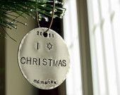 Show your love for both your Jewish heritage and the great holiday of Christmas with this handmade, personalized ornament. $18. #jewishchristmas #jewishxmas. http://etsy.me/1N4J4Cm