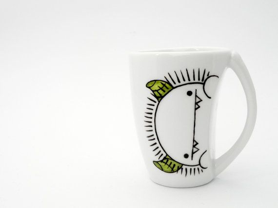 Silly monster with green horns espresso cup and by vitaminaeu