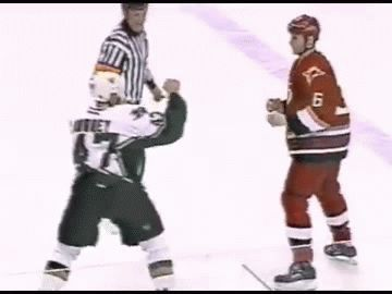 Cool hockey shot. Maybe a fight?