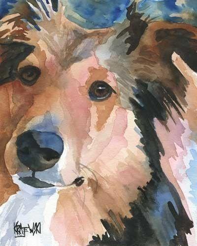 Shetland Sheepdog Art Print of Original Watercolor by dogartstudio