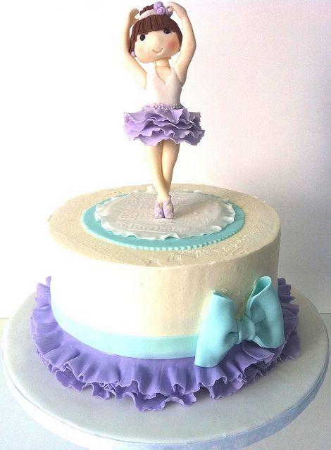 ballerina cake - change colors to light pink and dark pink. Ballet slippers on top instead of ballerina