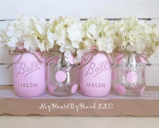 Baby Shower Centerpiece Distressed Mason Jars Polka Dots