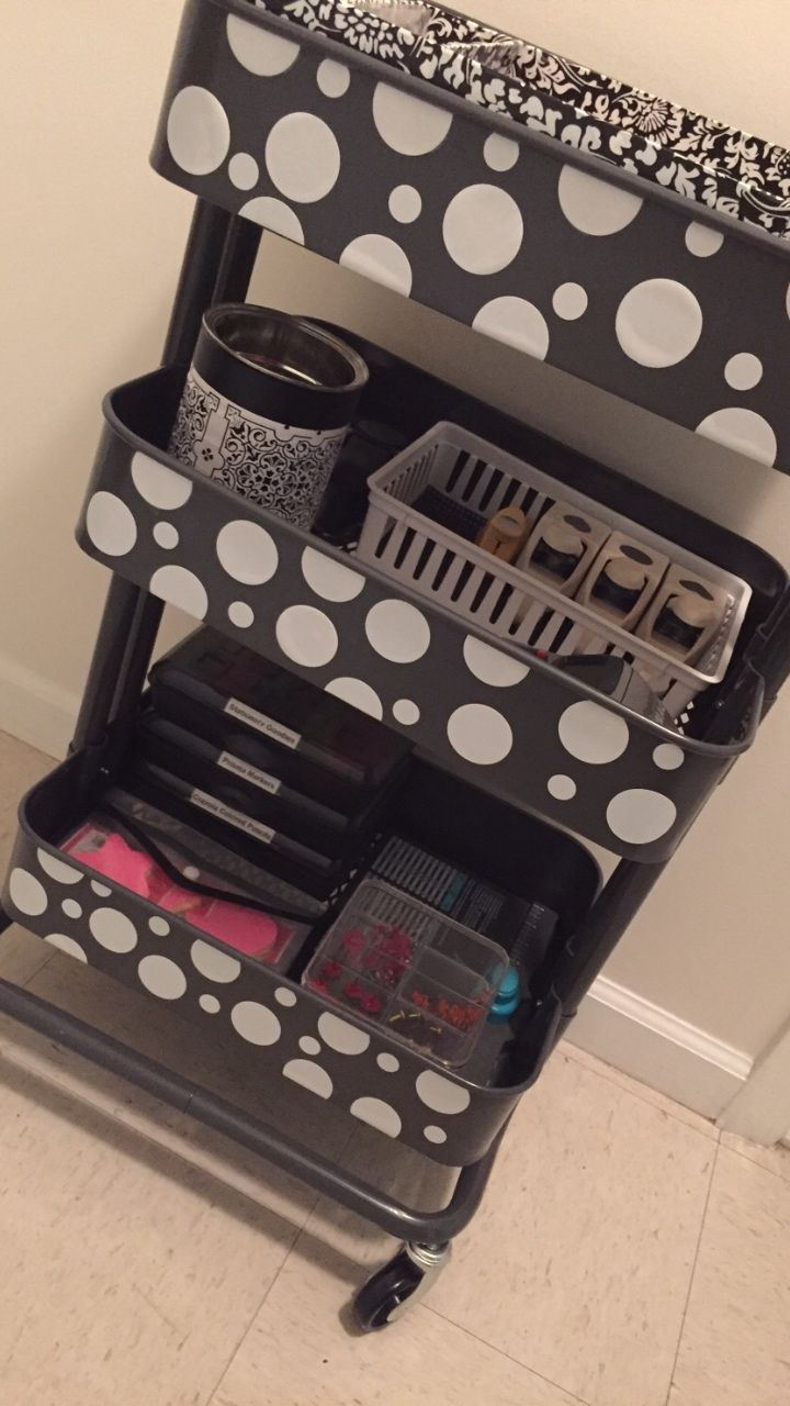MY RASKOG CART: from Ikea I used white contact paper to embellish my cart and circle hole punches! Super simple!   Great way to customize your cart.  Plus I can change the design when I get bored and not worry about ruining the actual cart!  LOVE IT! - https://flipagram.com/f/lrsu5p5BB6