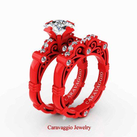 d40e36ae7f2 London Exclusive Caravaggio 14K Red Gold 1.25 Ct Princess White Sapphire  Diamond Engagement Ring Wedding Band Set R623PS-14KREGDWS