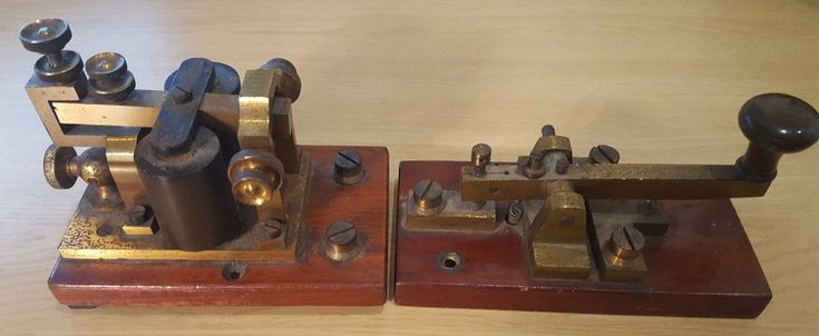 RARE early GPO Morse Code Key and Sounder in Brass and Mahogany 1800s - 1930