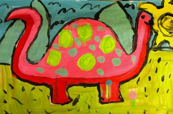 how to draw + paint a dinosaur - 2nd-4th grade