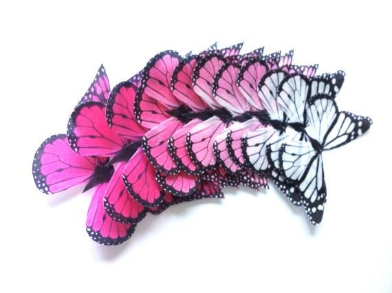 Wedding Cake Topper - Edible Butterflies in 12 large Pink Ombre Monarchs - Cupcake Toppers, Butterfly Cake Decorations