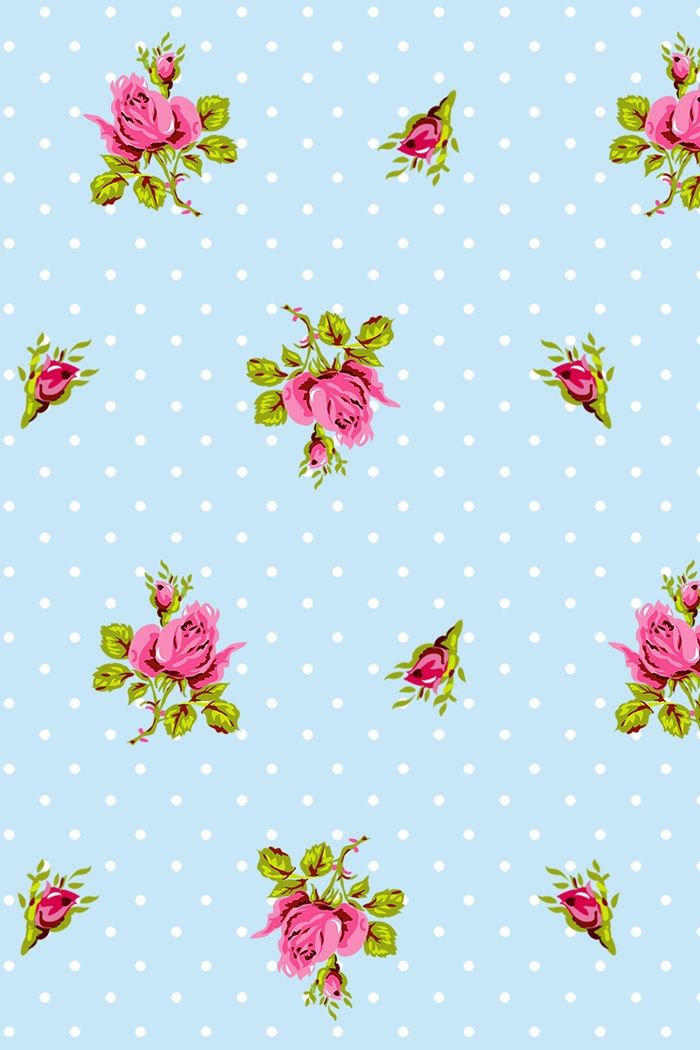 PiP Roses and Dots Blue wallpaper