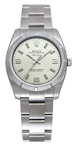 Rolex Airking Silver Arabic and Index Dial Engine Turned Bezel Men's Watch 114210SASO - Rolex - Shop Watches by Brand - Jomashop
