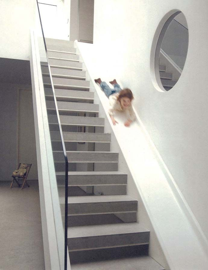Staircase Slide Combo - Staircase Slide Combo Built By The Coolest Parents EverAt the request of his children, London architect Alex Michaelis installed a slide next to the staircase in their new eco-friendly dream home. | via designrulz.com | #Staircase #Slide #InteriorDesign