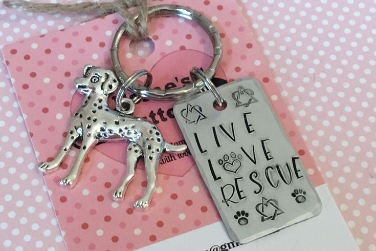 Excited to share the latest addition to my #etsy shop: Dalmatian keyring, Rescue dog KeyRing,  Live Love Rescue, handstamped keyring, dog lover gift, gift for him, gift for her, #accessories #keychain #birthday #mothersday #rescuedalmatian #dalmatiangift #giftsforfriends #giftforher