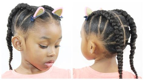 Ponytail Cornrow | Hairstyles for Little Girls | Natural Hairstyle [Video] - https://blackhairinformation.com/video-gallery/ponytail-cornrow-hairstyles-little-girls-natural-hairstyle-video/