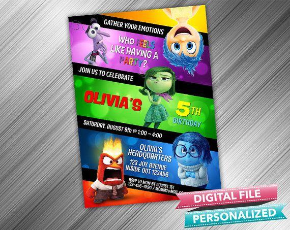 Disney Inside Out Invitation by kidspartydiy on Etsy