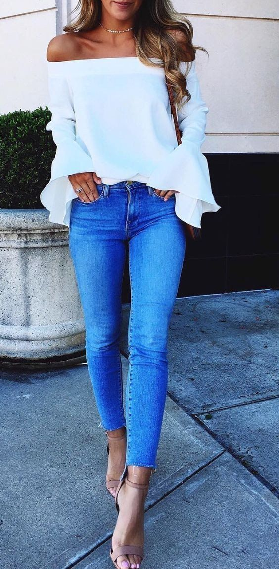 #summer #outfits White Ruffle Off The Shoulder Top + Skinny Jeans + Nude Sandals