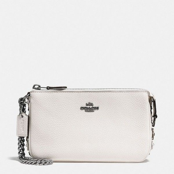 Coach Nolita Wristlet 19 ($165) ❤ liked on Polyvore featuring bags, handbags, clutches, crossbody wristlet, white crossbody purse, crossbody handbags, coach crossbody and crossbody purses