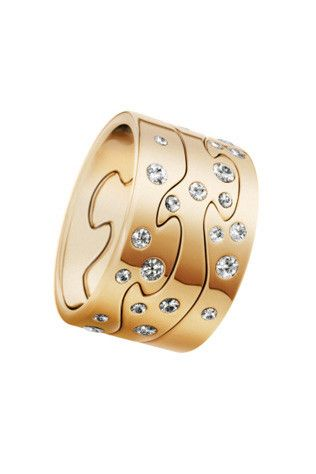 Georg Jensen Fusion three-part gold ring set with diamonds