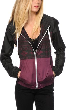 Empyre Sutton Black & Burgundy Tribal Windbreaker Jacket at Zumiez : PDP