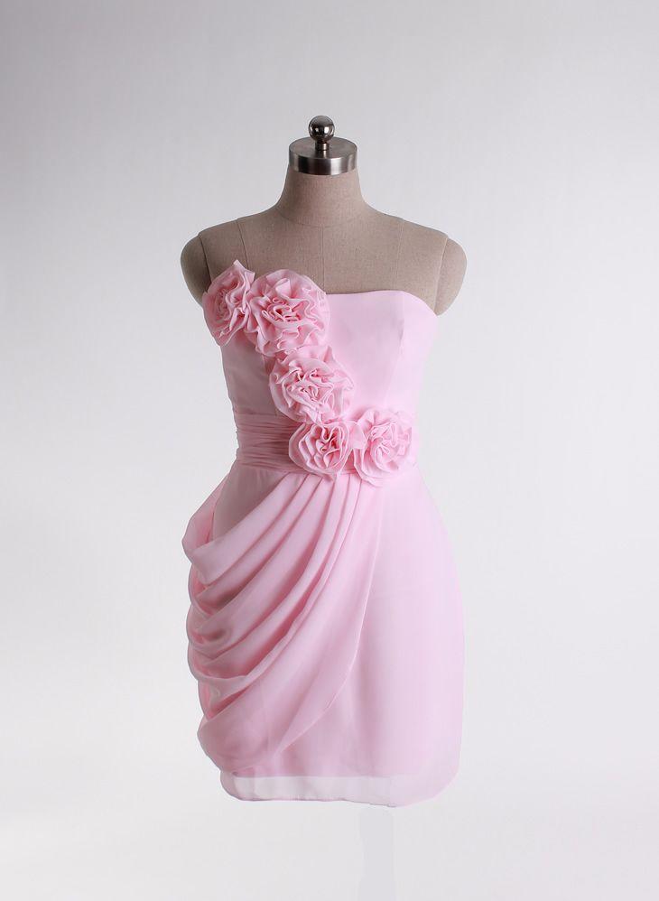 Elegant Strapless Chiffon Baby Pink Dress with Empire Waist