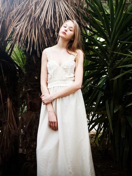 Ecru silk blend long dress with cotton Greek trim.