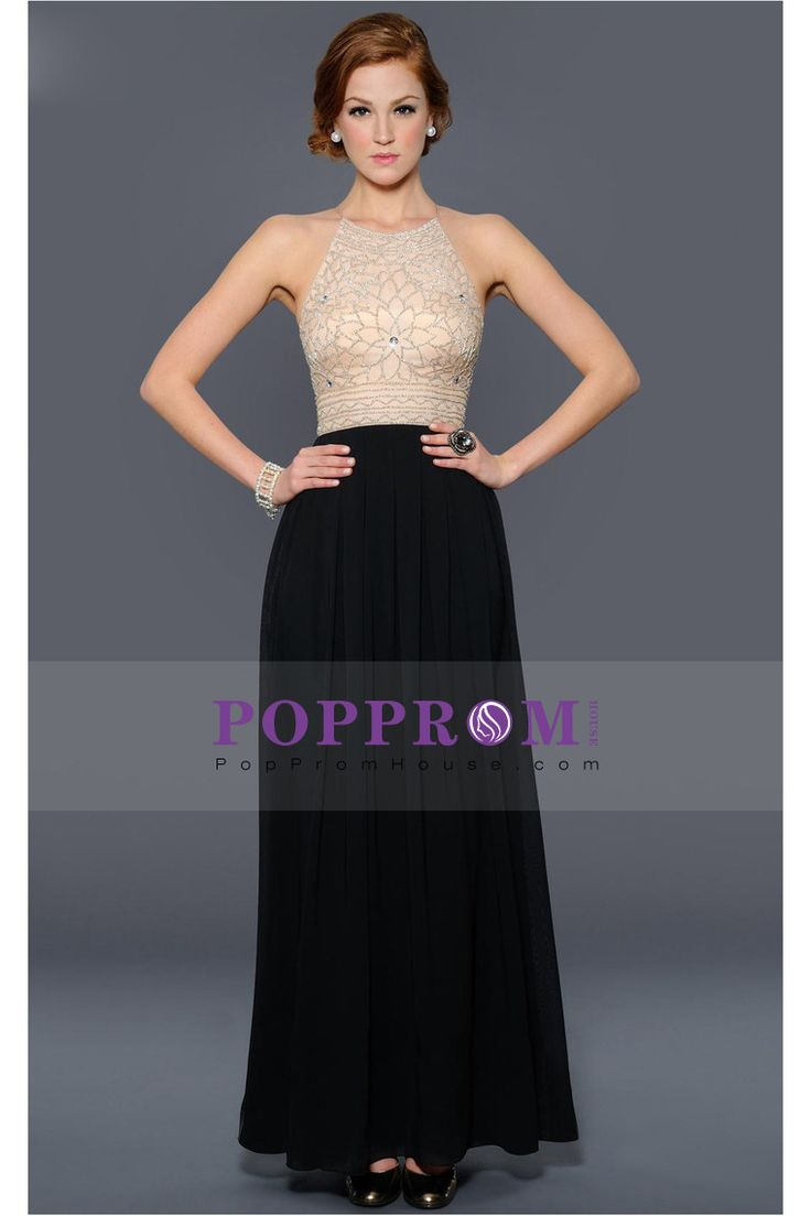 A-Line Evening Dresses Floor-Length Chiffon Spaghetti Straps Color  Champagne Top With Black